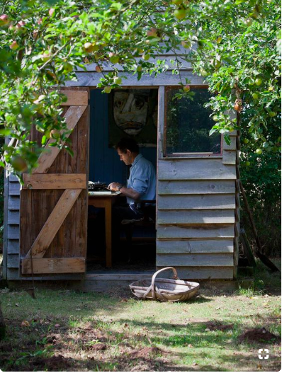 Monty Don in his writing shed.